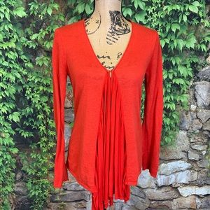GUINEVERE/ANTHRO Red Lightweight Cardigan, S